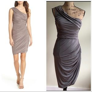 Eliza J taupe ruched bodycon one shoulder dress 6